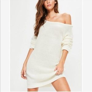 Misguided cozy knit cream sweater dress